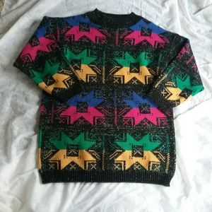 Vintage 90's Bright Loud Colorful Sweater